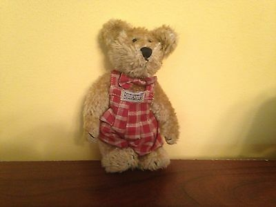 """Retired Boyd's Bears Plush 6"""" SAMUEL in Red Plaid Overalls w/ Matching Bow Tie"""