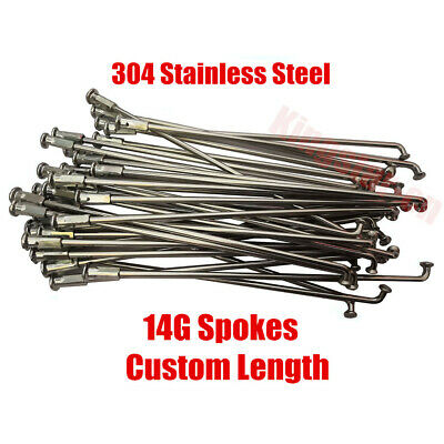 """QTY 36 Stainless Steel bicycle spokes 14g 260mm 10-1//4/"""" w 12mm nipples J bent"""