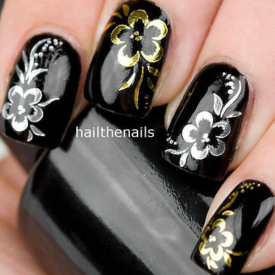 Nail Art Wraps Water Transfers Decals Y40 Gold Silver Rose Flowers Salon Quality
