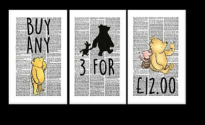 Winnie the Pooh Piglet Quotes Vintage Dictionary Page Wall Art Pictures Prints