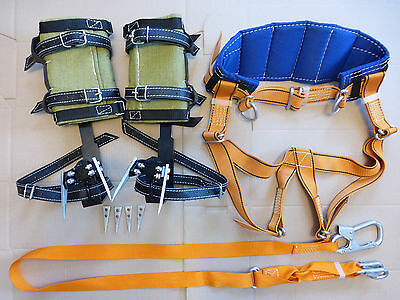 Tree Climbing Spike Set, Safety Belt With Straps, Adjustable Lanyard &2Carabiner