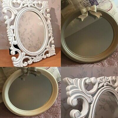 Shabby French Chic Oval Wall | White Freestanding Painted Mirror - 3 designs