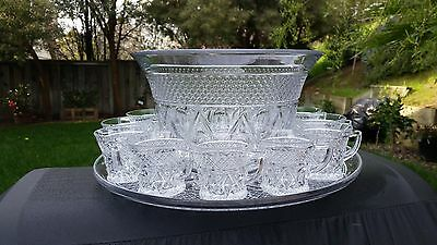"Imperial Cape Cod Crystal 12"" Punch Bowl#10B 16"" Underplate 20V Set With 12 Cups"