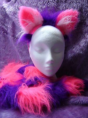 The Cheshire Cat Fancy Dress Ears And Tail Bright Pink & Purple 30 Inch Tail NEW