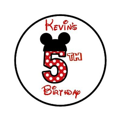 108 Personalized Mickey Mouse Birthday Hershey Kisses Party Favor labels