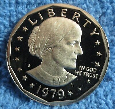 "1979-S Type 2 Cameo Proof Susan B. Anthony dollar. Type 2 Clear ""S""."