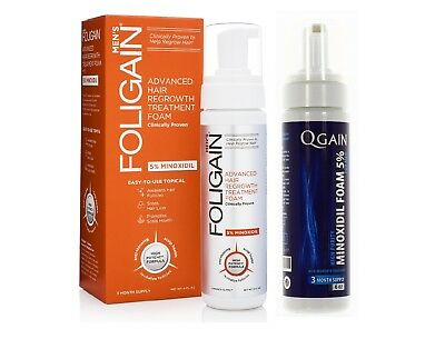 FOLIGAIN F5 + QGAIN MINOXIDIL FOAM 5% 6 Months Supply in total