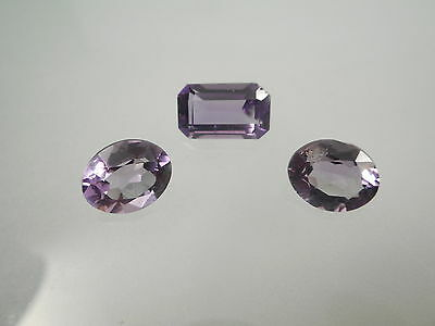 Three Loose Faceted Amethyst Emerald And Oval Cut Natural Gemstone 7.6Ct Twt