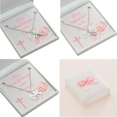 Girls Christening Jewellery, Necklace with Cross and Personalised Engraving.