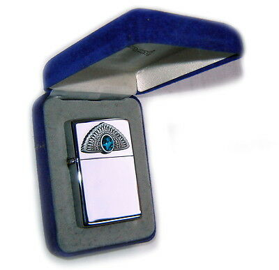 Zippo Beautiful TURQUOISE SERIES:FAN OF FEATHERS The EYE BOX Special SUPER RARE!