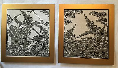 Thai Siam Cambodia Temple Stone Rubbings Rice Paper Matted Mid Century Art