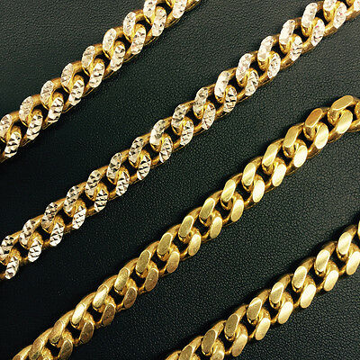 8.7mm 14k Yellow Gold 925 Sterling Silver Miami Cuban Solid Chain 32 Inch Italiy