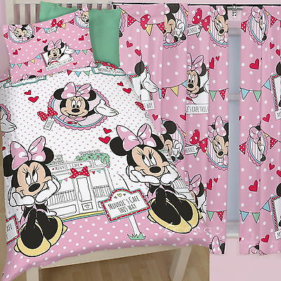"""Minnie Mouse Cafe Single Duvet and Matching Curtains Set 54"""" or 72"""" Drop Bed Set"""