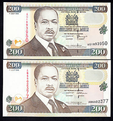 Africa Kenya 200 Shillings 1996 & 1998  P. 38a & 38c 2  UNC Notes