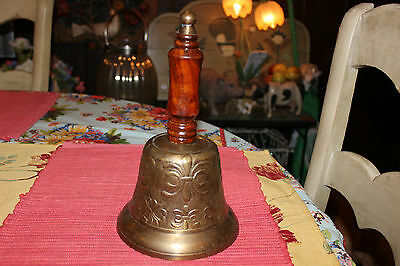 Superb Large Brass Ceremonial Bell W/Wood Handle-Raised Floral Design-Loud