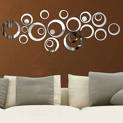 24 Pcs Circle Acrylic Plastic Mirror Wall Home Decal Decor Vinyl Art Stickers