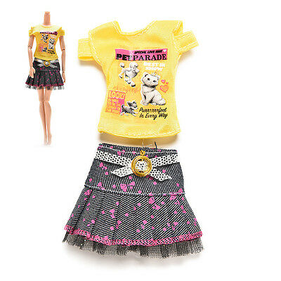 2 Pcs/set  Handmade Blouse Outfit Casual Wear Clothes Skirt For Barbie Doll