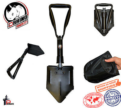 "D-Rhino Folding Shovel 24"" Camping Garden Military Style Survival with Case"