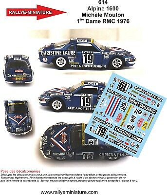 Decals 1/43 Ref 614 Alpine Renault A110 Mouton Rallye Monte Carlo 1976 Rally Wrc