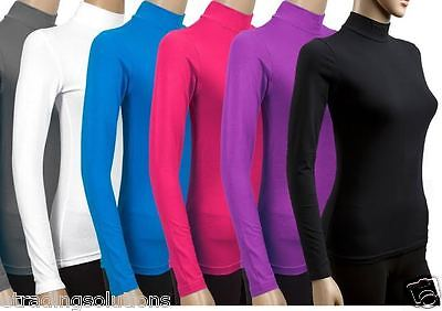 Ladies long sleeve polo roll neck top womens turtle neck plain jumper 6-20 'POLO