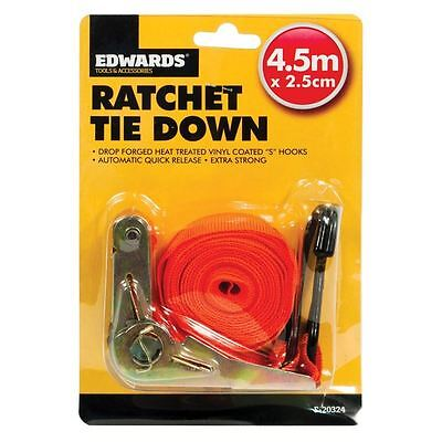 New 4.5m Ratchet Tie Down Strap Quick Release Cargo Trailer Lashing Hooks