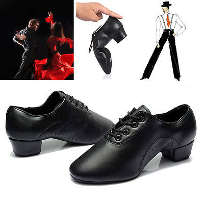2016 Wide Men Dance Shoe Black Leather Salsa Ballroom Latin Tango Dance Shoes