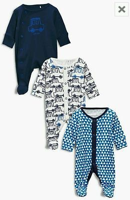 Baby Boys New Ex Next Blue Cars 100% Cotton Sleepsuit  Babygrow Tiny Baby-12Mth