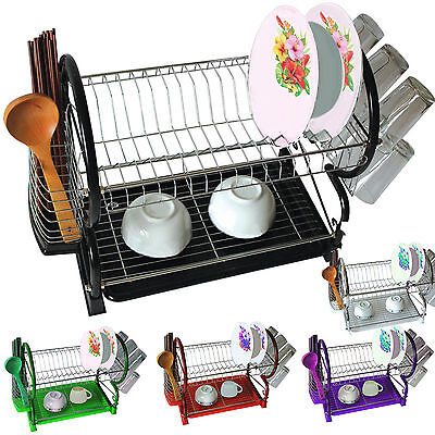 New Drainer Rack 2 Tier Chrome Plate Dishes Cutlery Cup Drip Tray Plates Holder