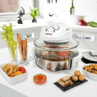 New 17 Litre High Quality Halogen Convection Oven Cooker Extender Ring White