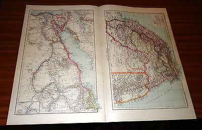 Antique Map EGYPT AND SOUTH AFRICA Cassell & Co 1893