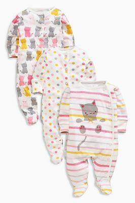 Baby Girls New Ex Next Pink Cats 100% Cotton Sleepsuit  Babygrow Tiny Baby-12Mth