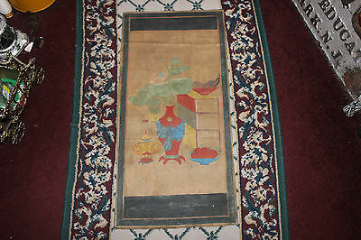 Antique Korean Woodblock Painting Scroll-Pottery & Furniture-Joseon Dynasty-#3
