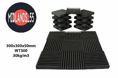 WT300 Acoustic Foam Wedge Tiles - Multiple Quantities 300x300x50mm