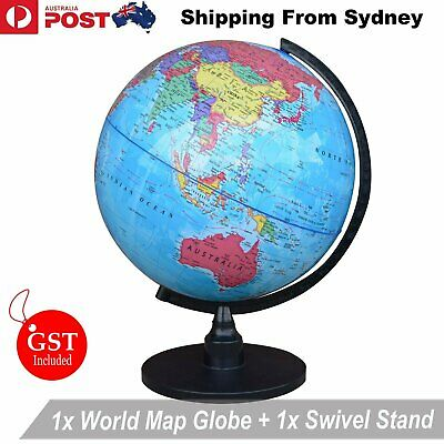 32cm World Globe Blue Ocean Map With Swivel Stand Geography Educational Toy Gift