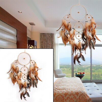 Handmade Dream Catcher With Feathers Car Wall Hanging Decoration Ornament Gift Q