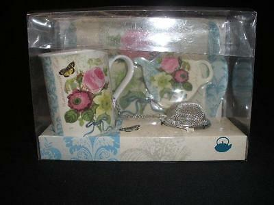 Fabulous Boxed Cup Of Tea Set Mug-Teabag Rest-Tea Strainer -Tray