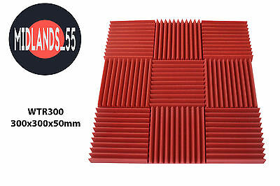 WTR300 Red Acoustic Foam Wedge Tiles - Multiple Quantities 300x300x50mm