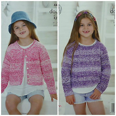 KNITTING PATTERN Girls Long Sleeve Round Neck Cardigan& Jumper Cotton DK KC 4462