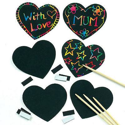 Scratch Art Heart Magnets for Kids to Design with Love (Pack of 10)
