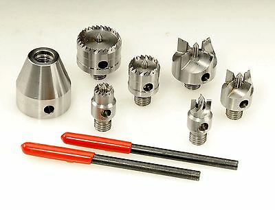 Wood Lathe 7 Pc Multi Spur Drive Center Set + Wooden Case for 1-8 Spindles New