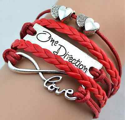Bracciale Dell' Amicizia One Direction Love  Cuori  Infinito Uomo Donna Unisex