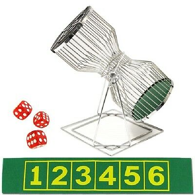 Chuck a Luck Dice Game Stainless Steel Cage with Felt and Dice