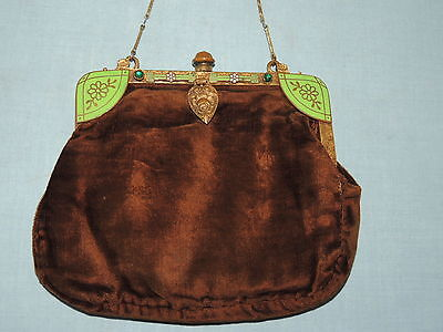 1930's Brown Silk Velvet Purse w Green Enameled / Rhinestone Frame
