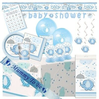 BLUE UMBRELLAPHANTS - Ultimate Baby Shower Party Pack, Tableware Decorations Boy
