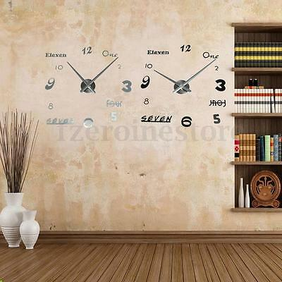52 Styles Impermeable 3D DIY EVA Acrylic Reloj de Pared Espejo Wall Clock Watch