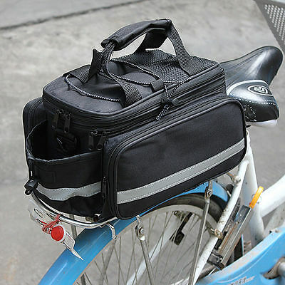 Expandable Bike Bicycle Pannier Saddle Rear Seat Travel Bag with Raincover Black