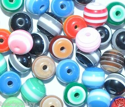 100 pcs striped round resin beads 8 mm & 6 mm*