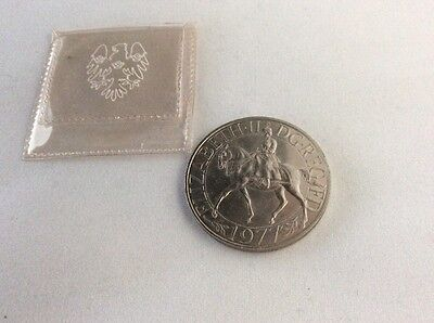 UK 1977 Queen's Silver Jubilee Crown Coin In Plastic Bank Sleeve