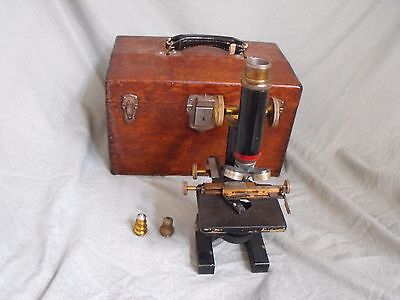 Antique Leitz Wetzlar Bausch & Lomb Brass Microscope Kit Set Lot