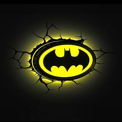 Batman Logo 3D Led Wall Night Light New Dc Comics Bedroom